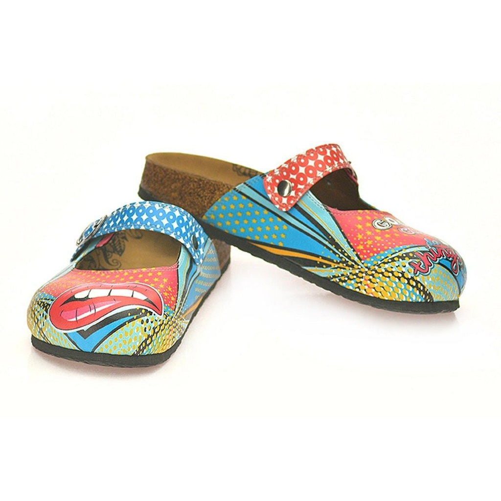Blue and Red Retro Pattern, Good Girls do Bad Things, Patterned Clogs - CAL801