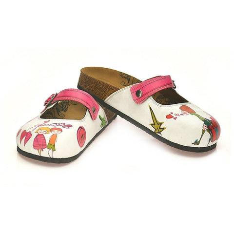 Pink Colored, Sweet Children and I Love You Written Patterned Logs Clogs - CAL808