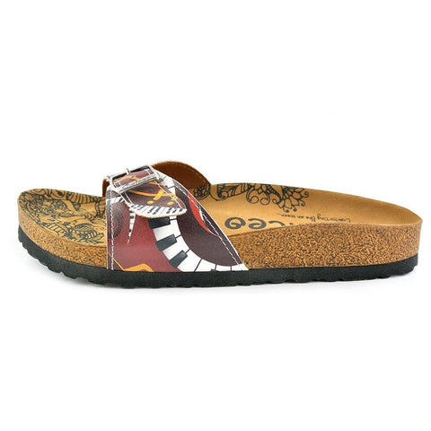 Claret Red Colored Piano Patterned Sandal - CAL901