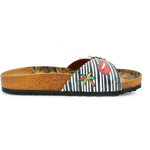 Black and White Striped Patterned, Lips and Sunshine Patterned Sandal - CAL902