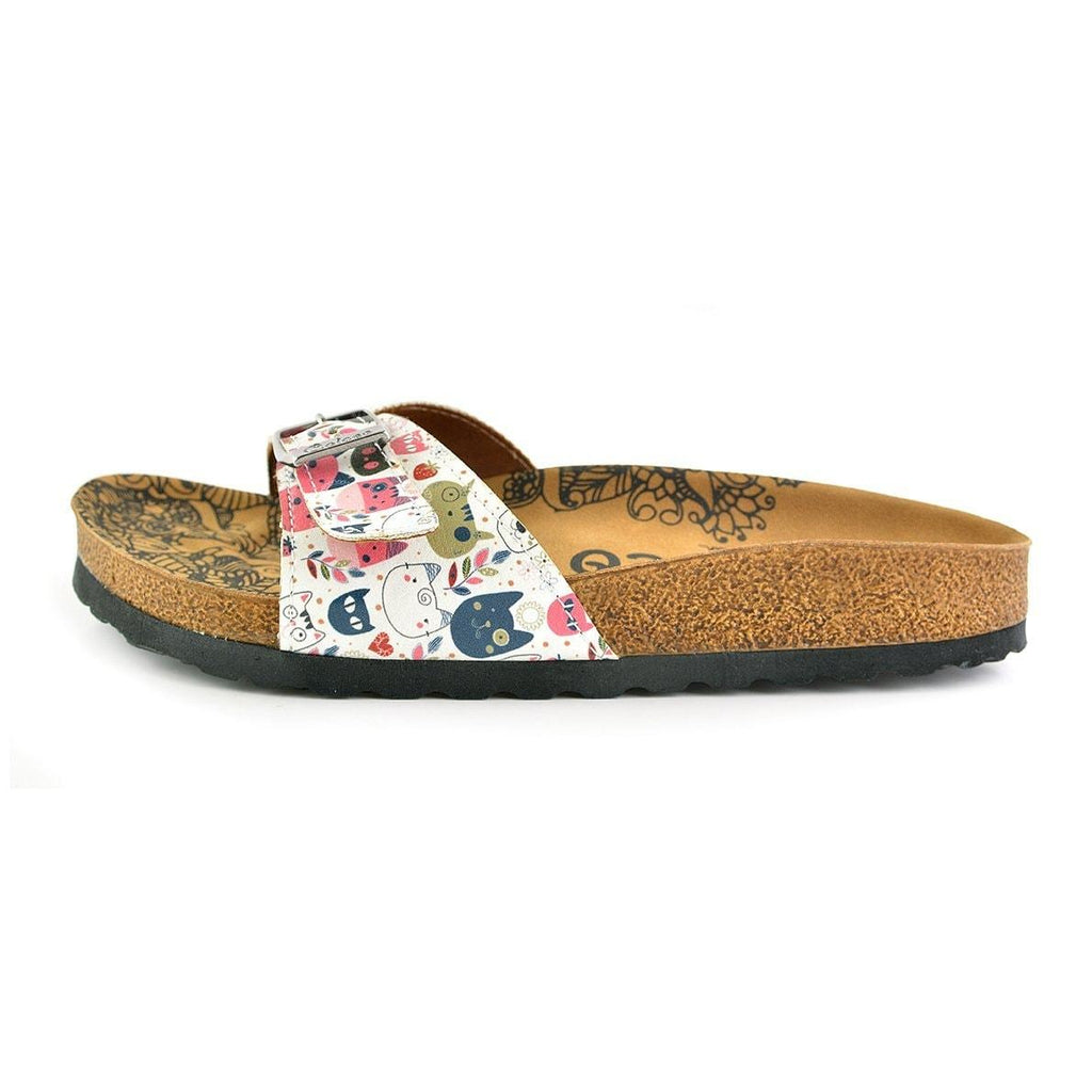 Colored Flowers and Cats Patterned Sandal - CAL906