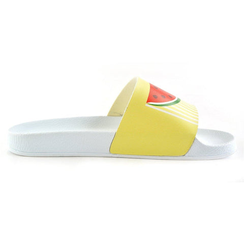 Yellow and White Striped and Watermelon Patterned, Hello Summer Written Patterned Sandal - CAP102