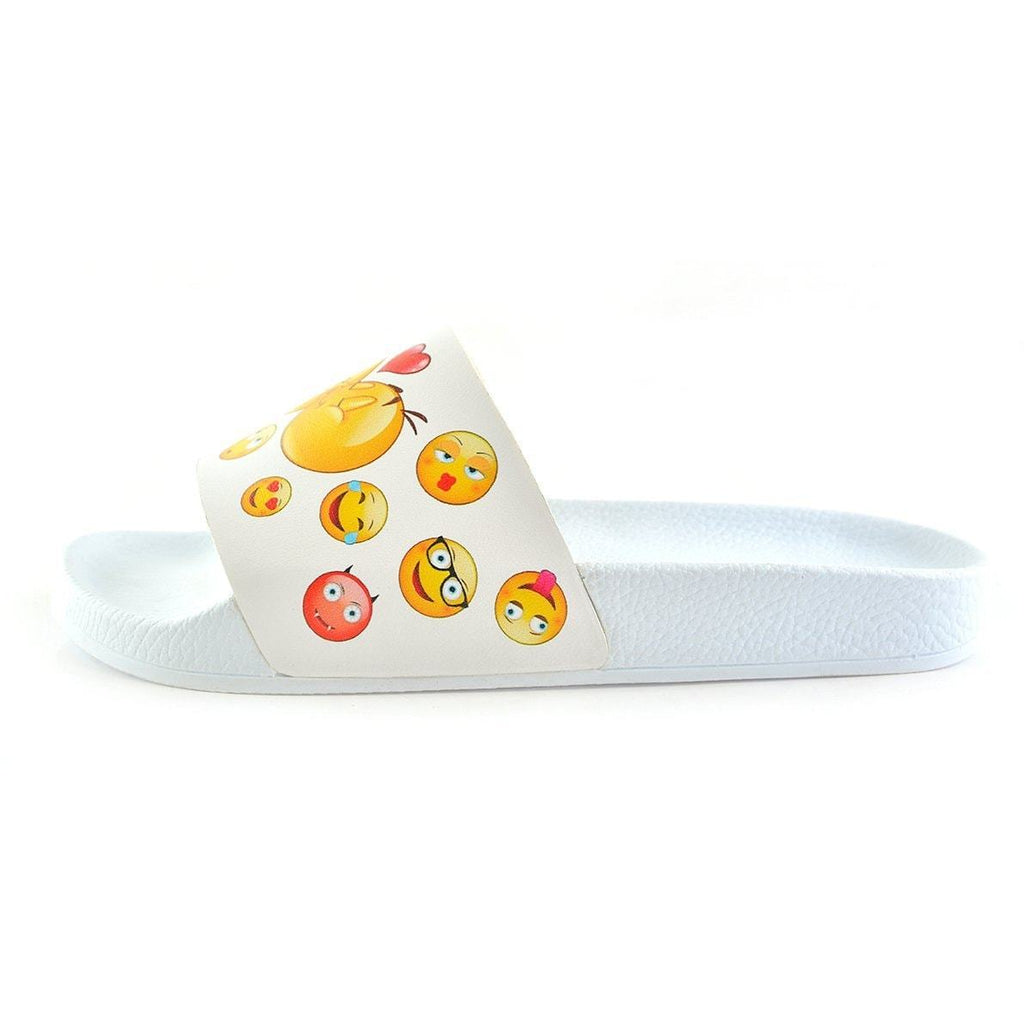 White Colored, Yellow Emoji Patterned Sandal - CAP104