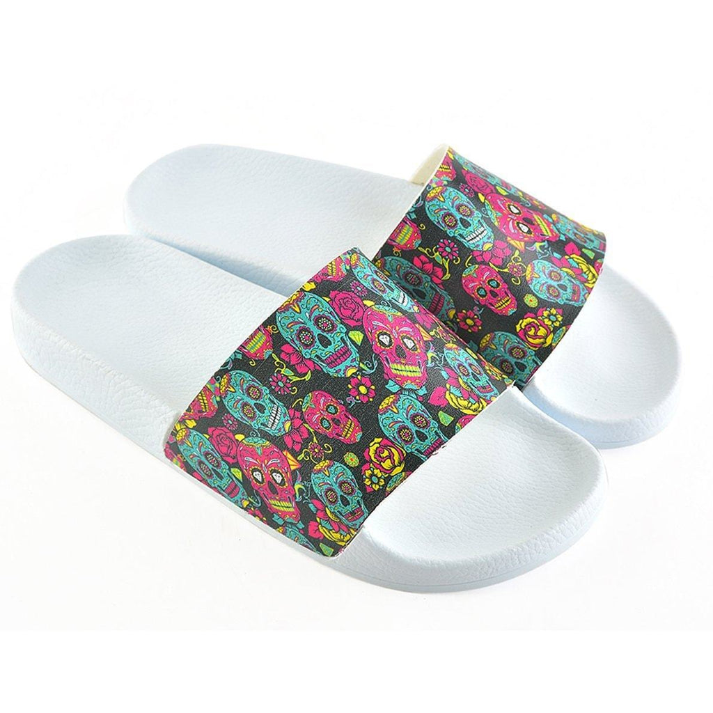 Purple Flowered and Purple Sweet Dry Skull Patterned Sandal - CAP106