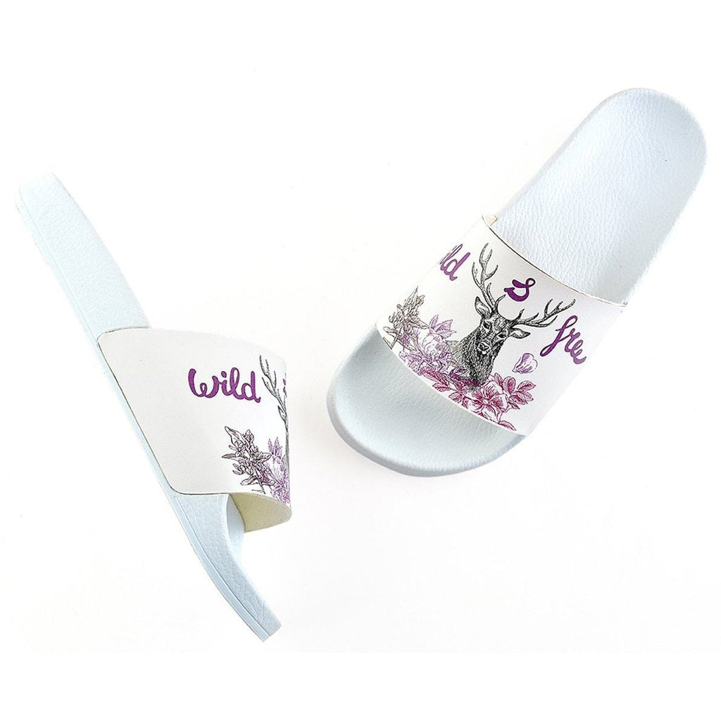 Purple Colored Wild and Free Written, Black Deer Patterned Sandal - CAP111