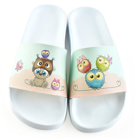 Light Blue and Pink Colored Sweet Bear and Owl Patterned Sandal - CAP112