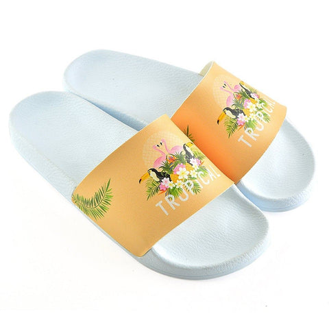 Orange Colored, Tropical Leaved, Flamingo Patterned Sandal - CAP113