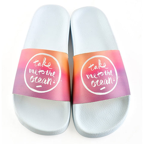 Take me to the Ocean Written and Colored Watercolor Patterned Sandal - CAP114