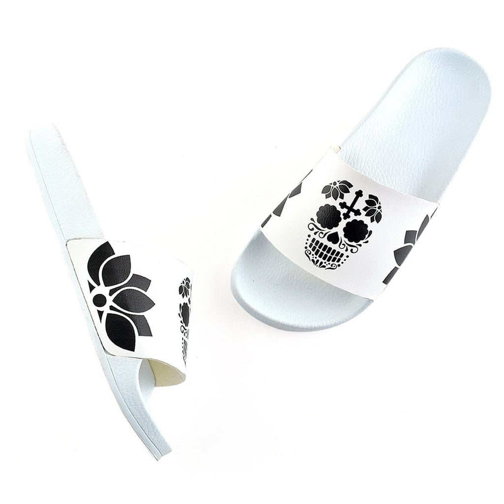 White, Black Colored Flowers and Black Dry Skull Patterned Sandal - CAP116