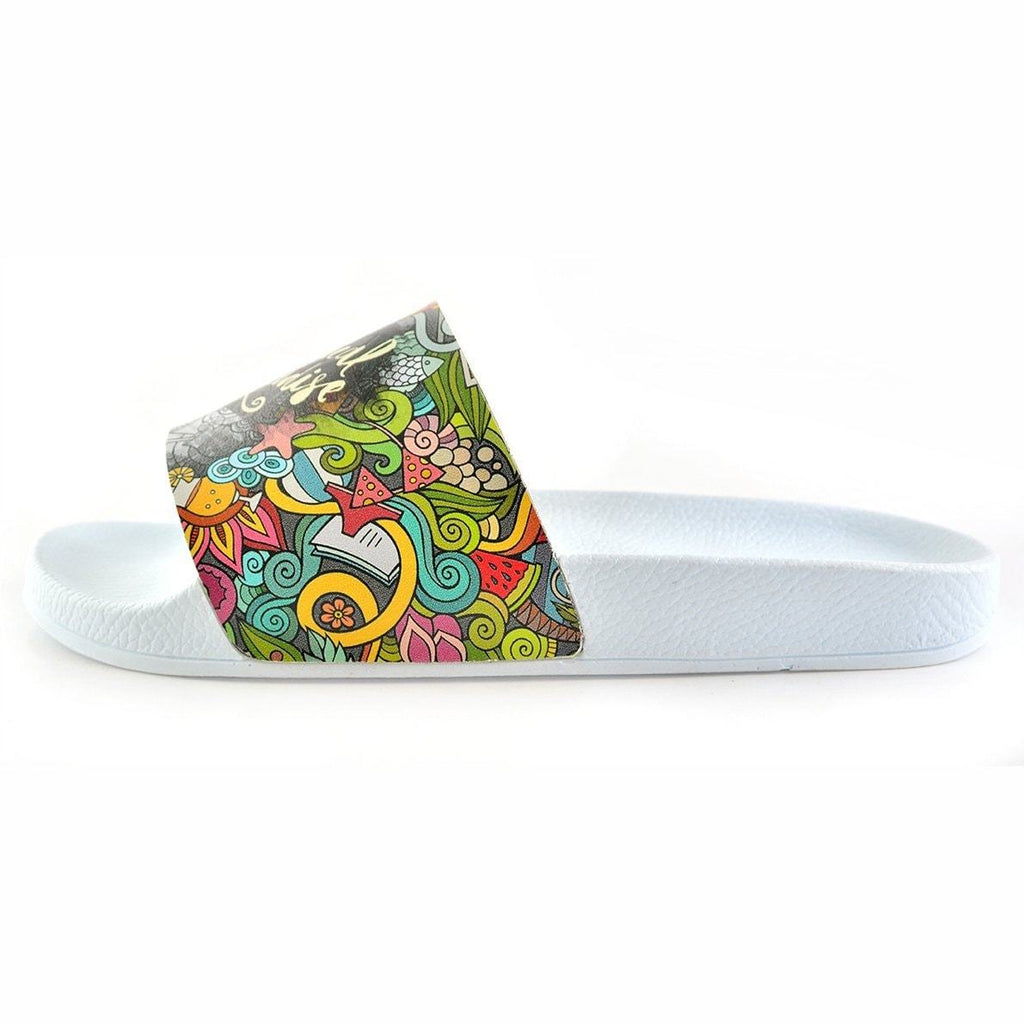 Black and White, Flowers Pattern, Moving and Mixed Colored Shaped, Hello Summer Written Patterned Sandal - CAP118