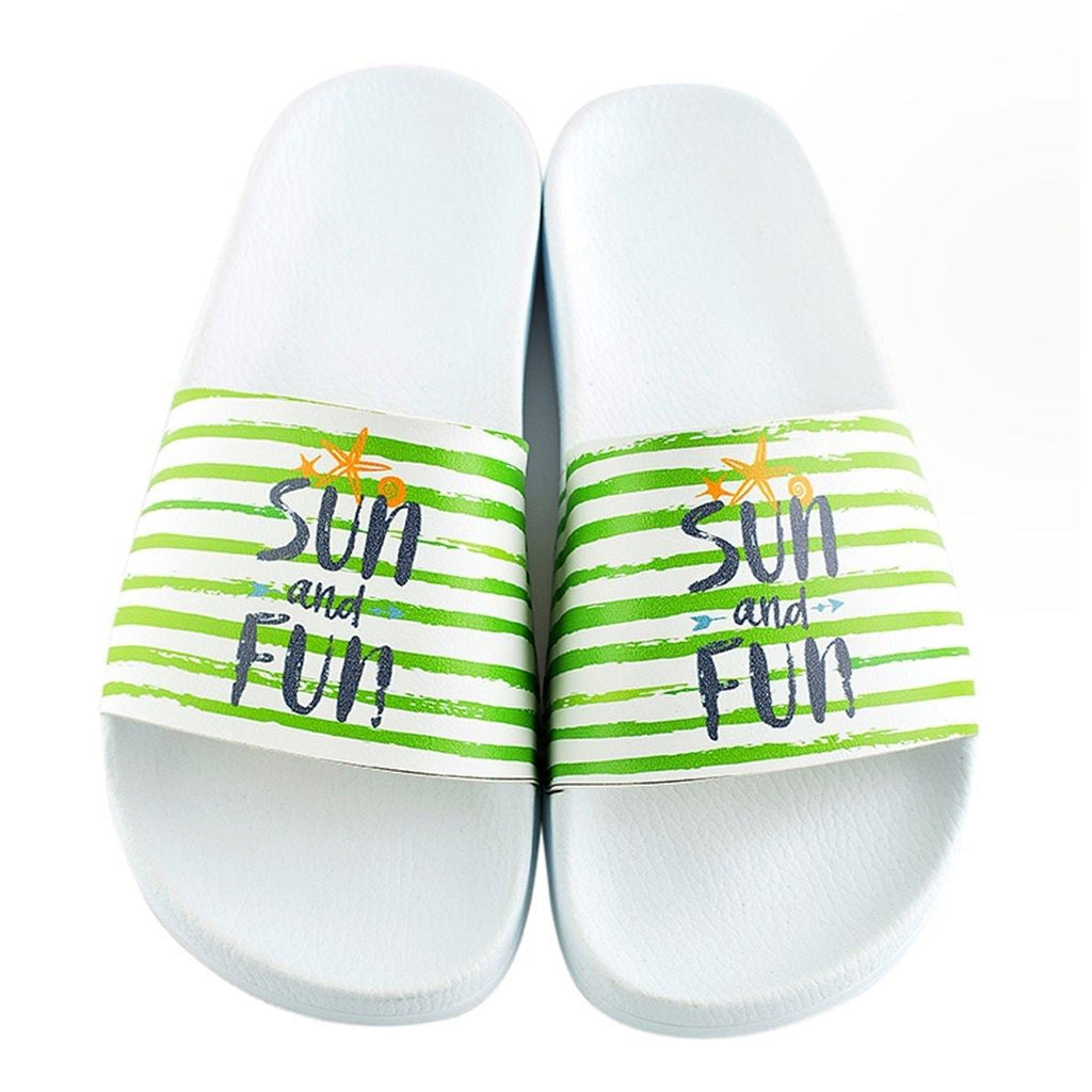 Green and White Striped, Sun and Fun Written Patterned Sandal - CAP120