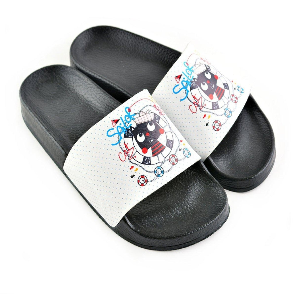 Blue Colored, Solar Writtened and Colored Sandal, Cat Patterned Sandal - CAP203
