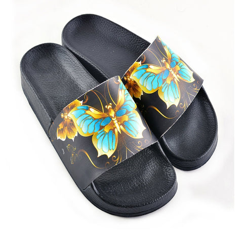 Black and Gold Colored Flowers and Gold, Blue Colored Butterflied Patterned Sandal - CAP204