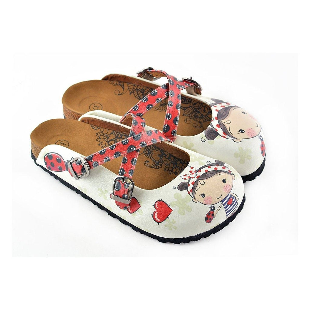 Red and Black Colored, Polkadot and Red Color Ladybug, Sweet Girl Patterned Clogs - WCAL120