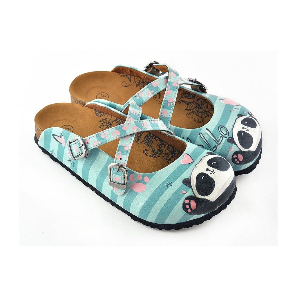 aa4b67496a0d3 Blue and Light Blue Colored Strip, Pin Heart Pattern, Sweet Panda Patterned  Clogs -