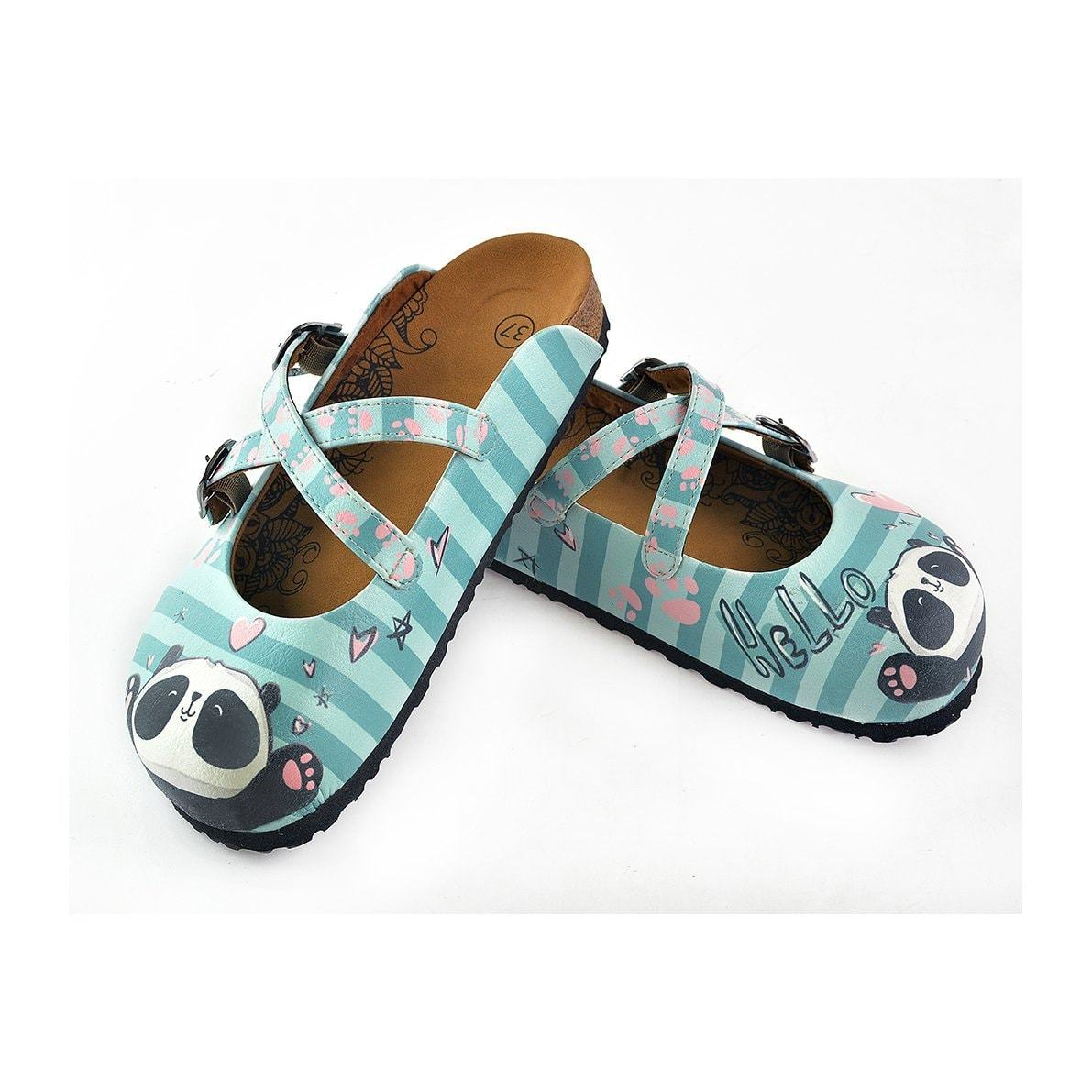 Blue and Light Blue Colored Strip, Pin Heart Pattern, Sweet Panda Patterned Clogs - WCAL122
