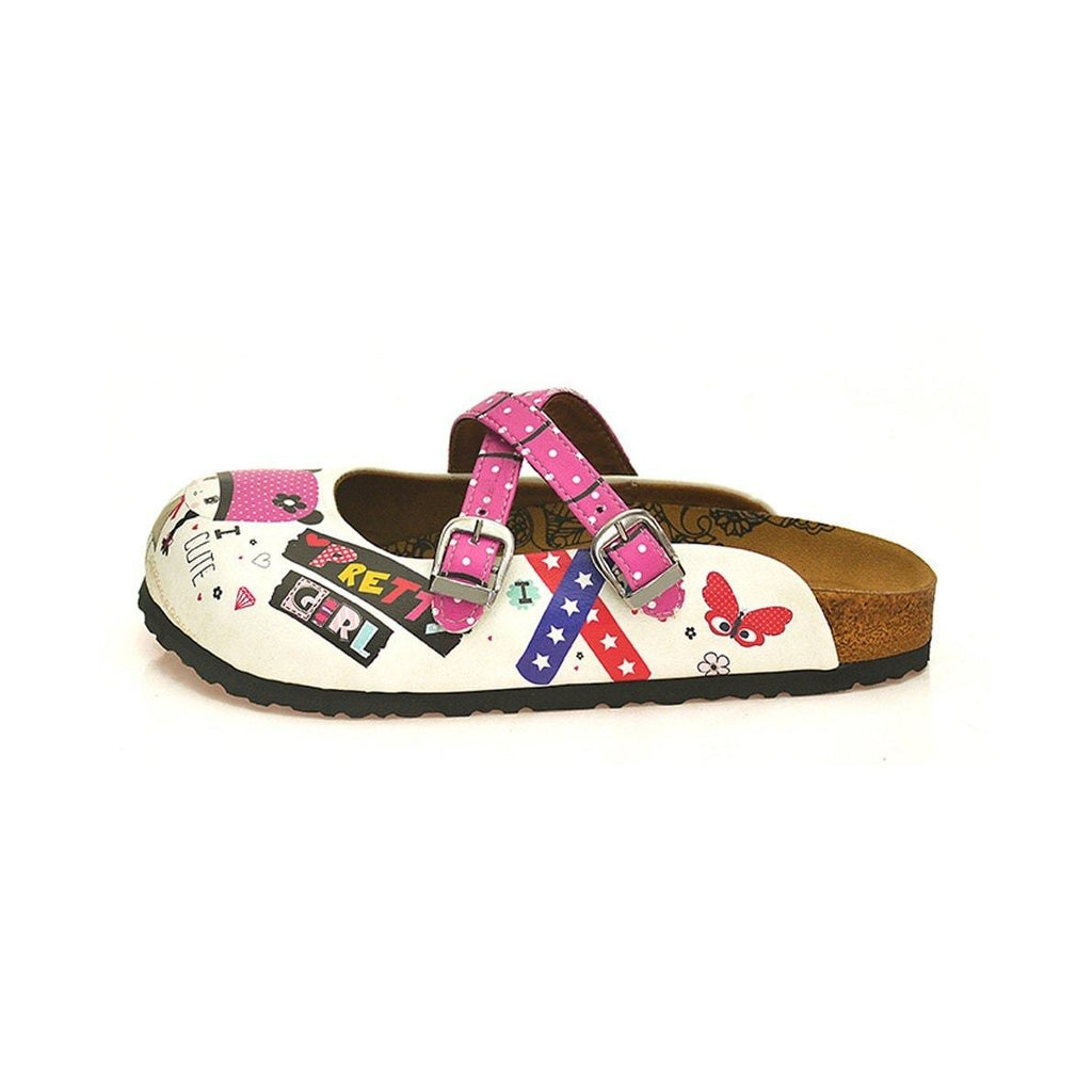 Pink and White Colored Polkadot Pattern, Pink and White Pretty Girl Patterned Clogs - WCAL130