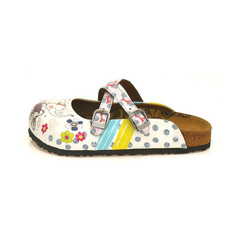 Blue and White Colored Flowers, Cute Elephant Patterned Clogs - WCAL131