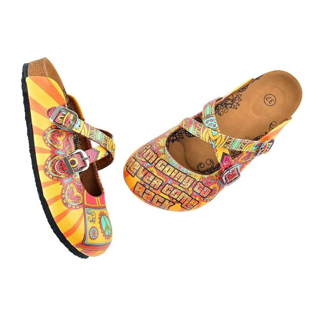Red and Yellow Colored Flowered Caravan Patterned Clogs - WCAL134