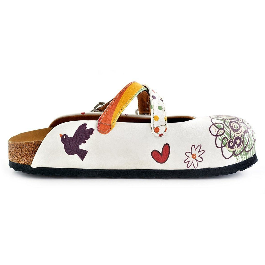 Rainbow Polkadot and Striped, Green, Purple Colored Soulmate Written Patterned Clogs - WCAL136