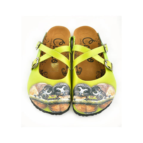 Yellow and Green Colored, Brown Colored Cute Owl Patterned Clogs - WCAL139