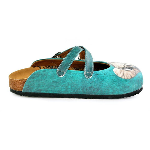 Blue Colored Pattern and Grey Elephant Patterned Clogs - WCAL140
