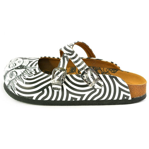 Black and White Wavy Straight Striped, Black Sun Crisscross Patterned Clogs - WCAL145