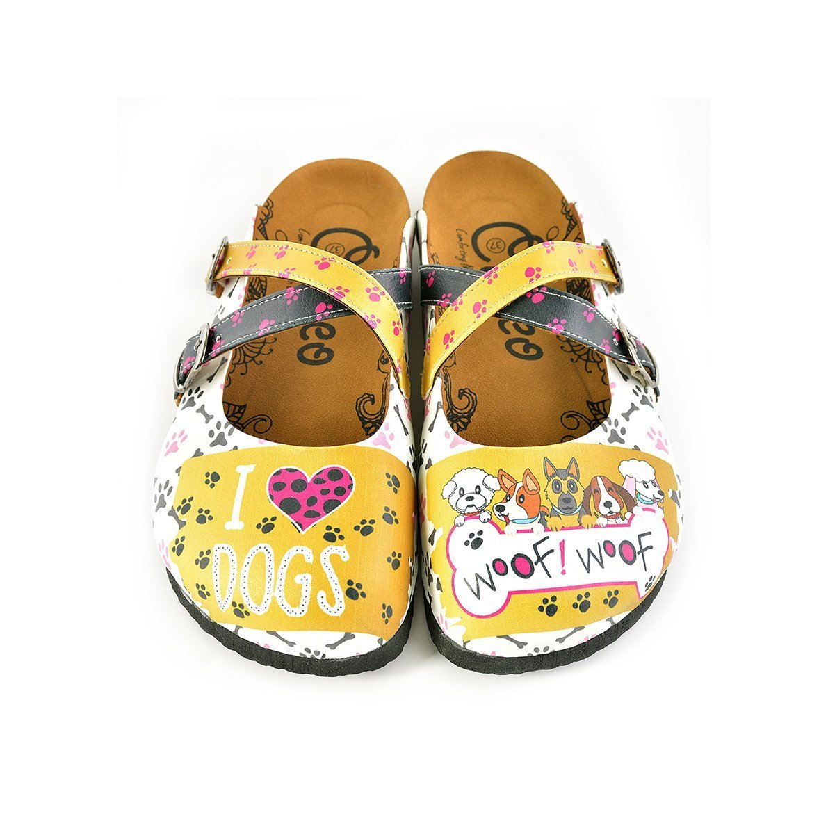 Yellow and Black Polkadot, Paw Pattern and I Love You, Cute Dogs Patterned Clogs - WCAL149