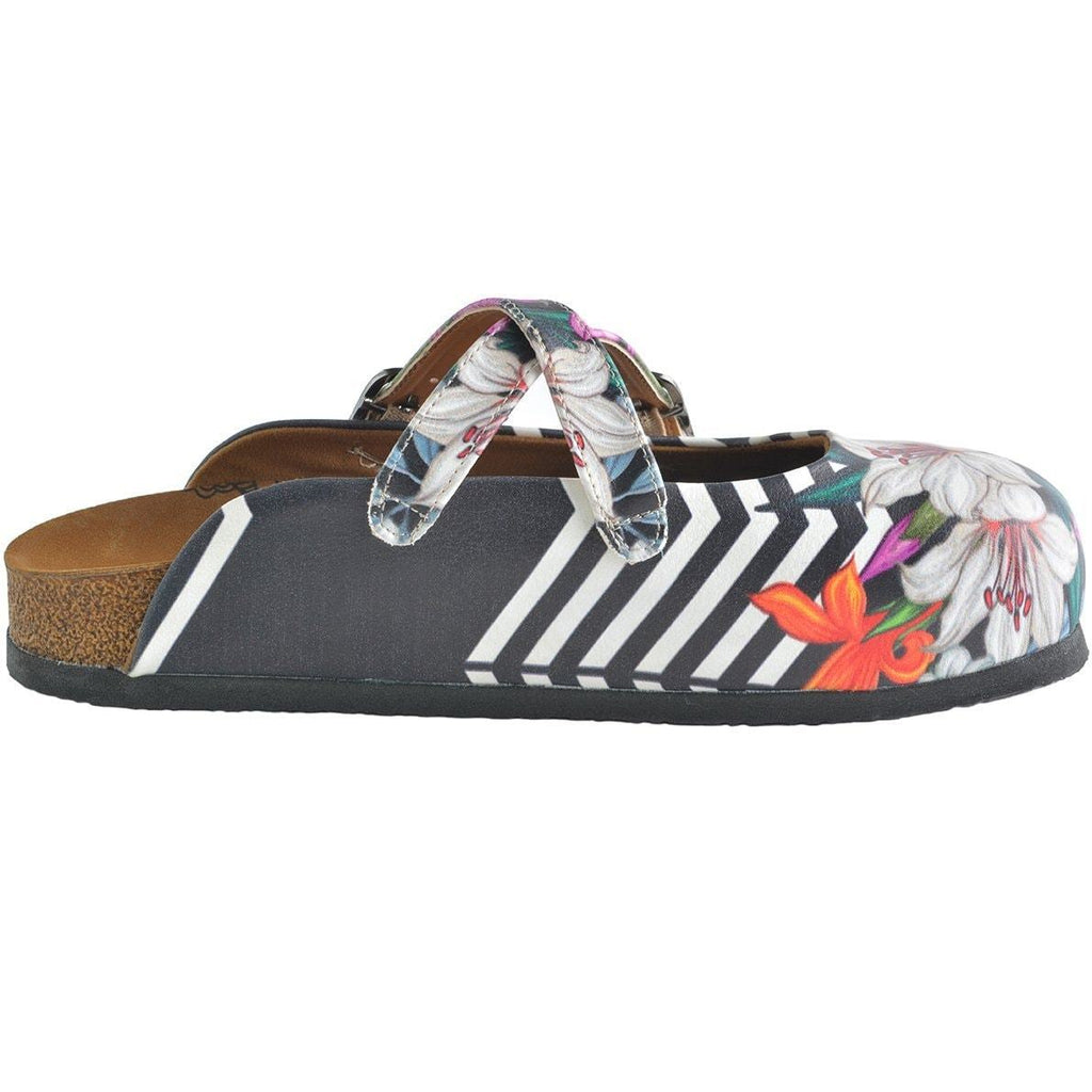 Black and White Straight Striped and Colorful Flowers Patterned Clogs - WCAL153