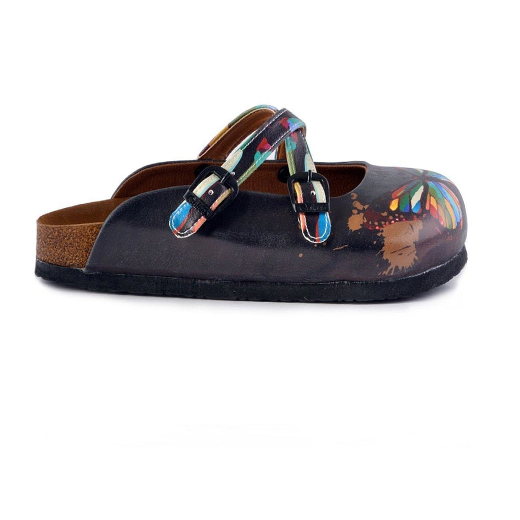 Black and Rainbow Colored, Butterfly Patterned Clogs - WCAL158