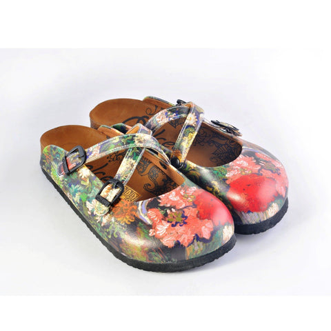 Colorful Rose Garden Patterned Clogs - WCAL159