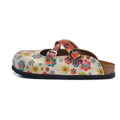 Red, Blue, Beige, Yellow Flowers Patterned Clogs - CAL161