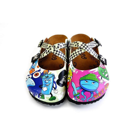 Black and White Squareds and Anime Character Patterned Clogs - WCAL173