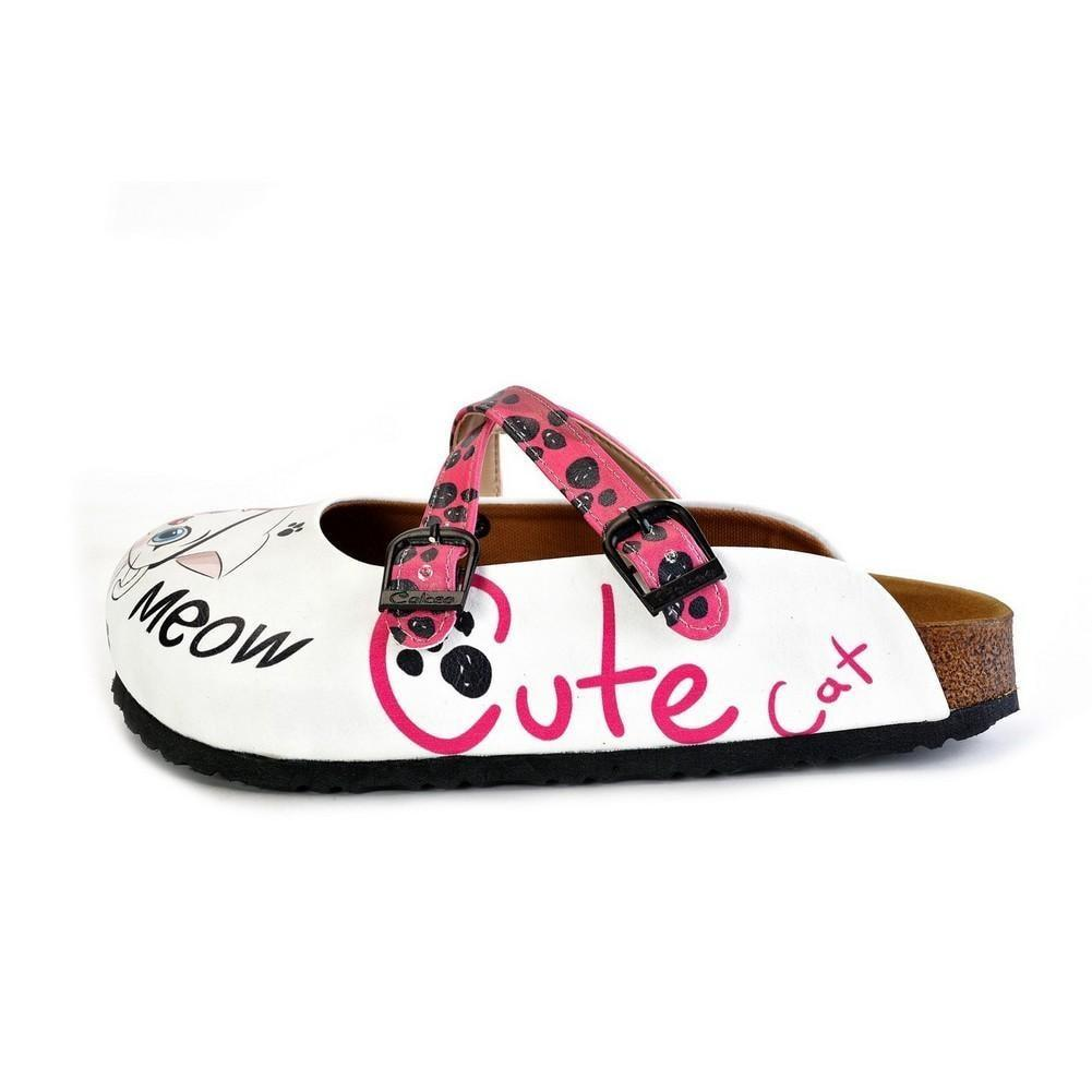 Pink and Black Paw Patterned, White and Pink Cute Cat Patterned Clogs - WCAL174