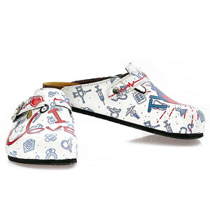 Blue, Red and White Colored Doctor Patterned Clogs - WCAL325