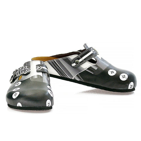Black, Grey, White Straight Striped, Black Button Patterned Clogs - WCAL327