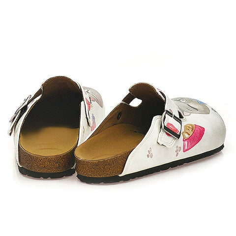 Pink Colored Paw, Grey Cute Cat Patterned Clogs - WCAL330