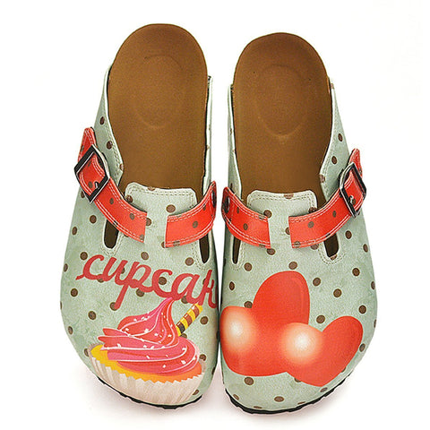 Light Blue and Black Polkadot Patterned, Sweet Cupcake and Red Heart Patterned Clogs - WCAL331