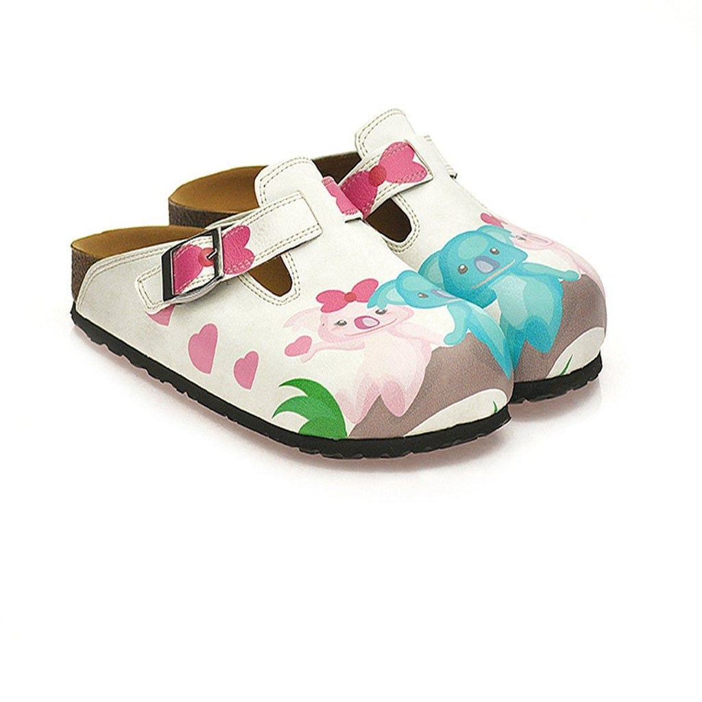 White and Pink Bow Pattern, White, Pink, Blue Colored Koala Patterned Clogs - WCAL333