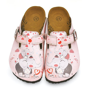 Pink and Red Colored, Fun Elephant Patterned Clogs - WCAL338