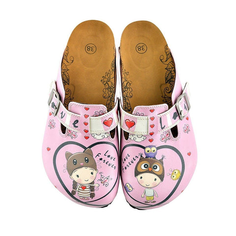 Pink and Red Heart Patterned Cute Child and Forever Written Patterned Clogs - WCAL339