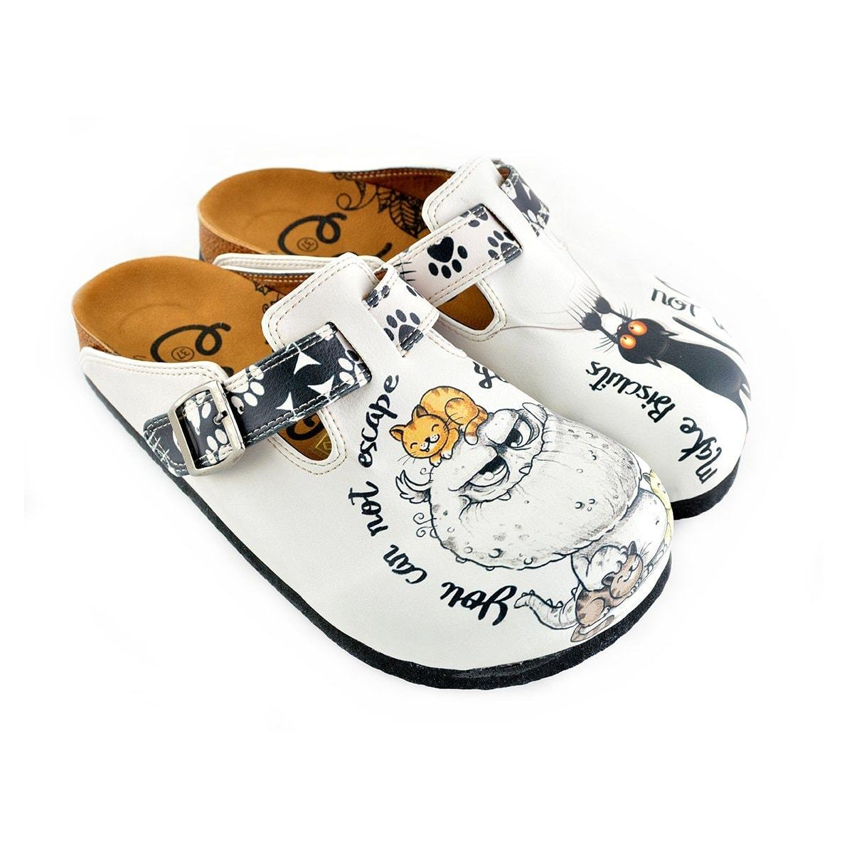 Black Paw and Cute Naughty Animals Patterned Clogs - WCAL342