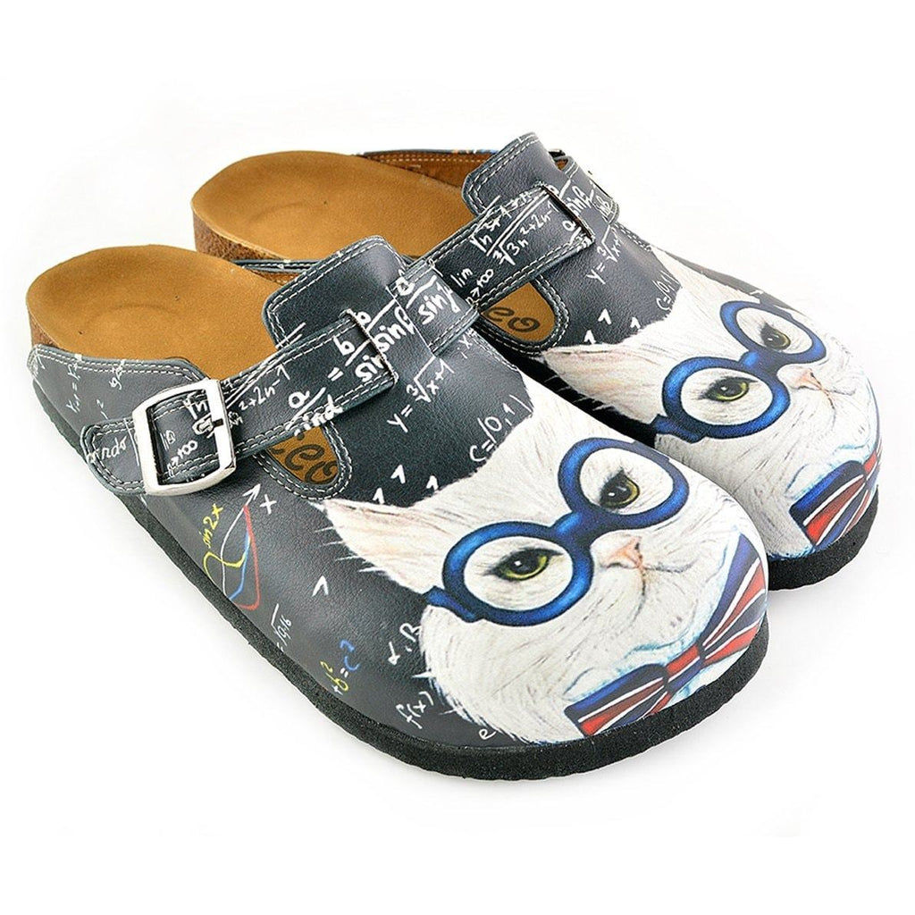 Grey Colored and White Glasses Cat Patterned Clogs - WCAL343