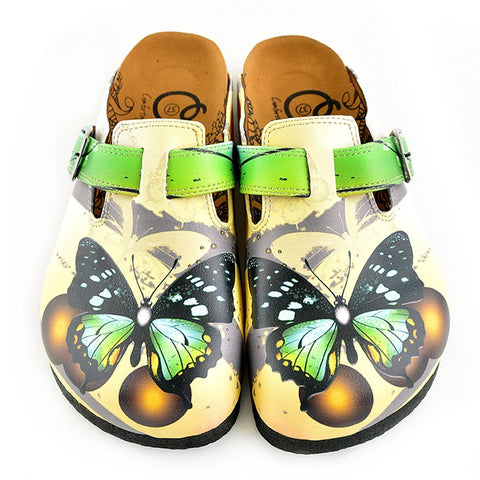 Black, Brown, Green Colored Butterfly Patterned Clogs - WCAL344