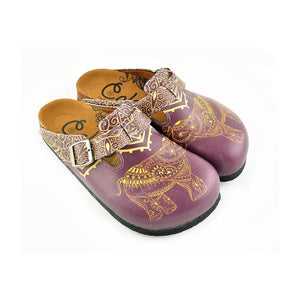 Yellow Mozaic Patterned and Purple Elephant Patterned Clogs - WCAL345