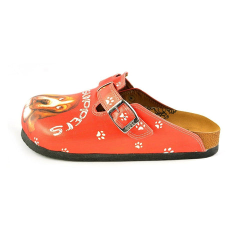 Red and White Colored Paw Pattern and Take Suppers Written, Brown Dog Patterned Clogs - WCAL349