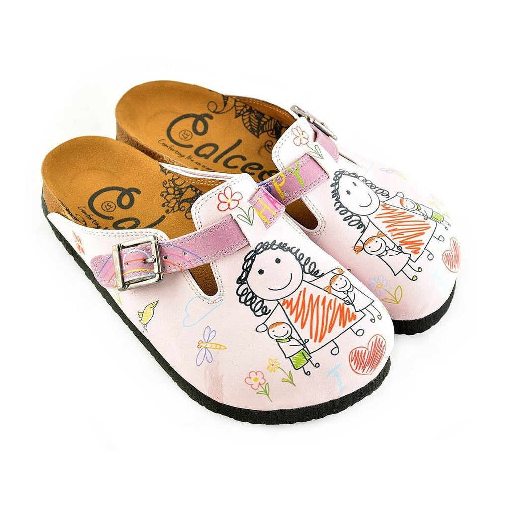 Purple and White Colored, Patterned and Mom and Kids Patterned Clogs - WCAL354