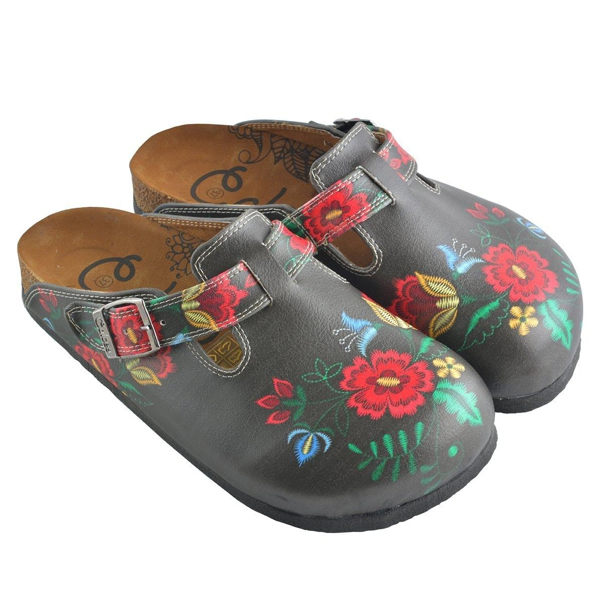 Red, Grey, Yellow Colored Flowers Patterned Clogs - WCAL355