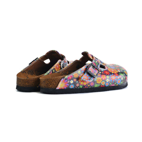 Black and Colored Flowers Patterned Clogs - WCAL357