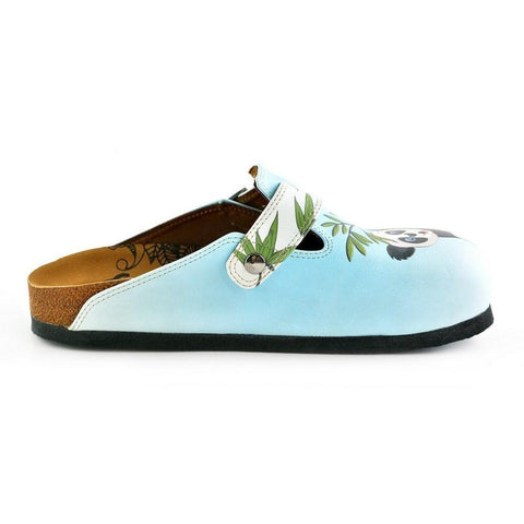 Light Blue Colored and Brown, Green Tree Leafed, Panda Patterned Clogs - WCAL362
